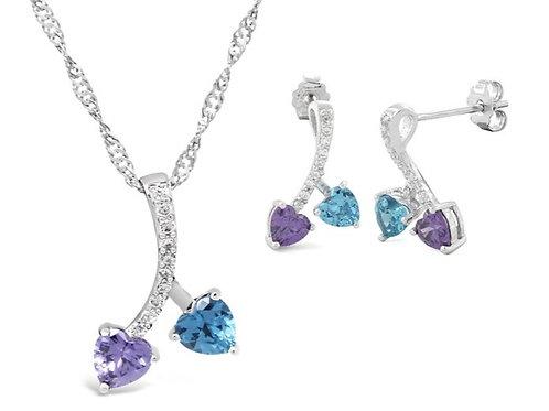 Silver Cherry Hearts Necklace Set - Amethyst & Blue Topaz
