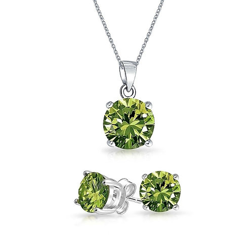 Silver Round Solitaire Necklace Set - Peridot
