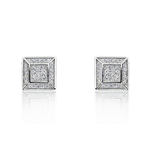 Octagonal Micro Pave Earrings