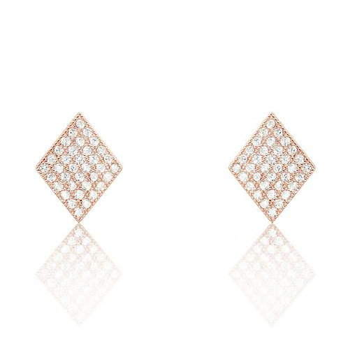 Rhombus CZ Earrings - Rose Gold