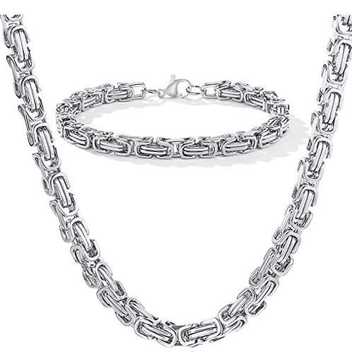 Steel Byzantine Chain Set - Silver