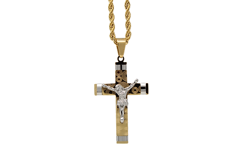Jesus on the Cross with Chain - Gold