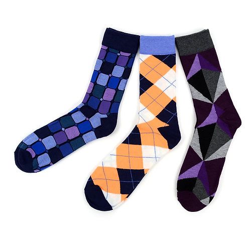 Men's Assorted Casual Fancy Socks - 3 Pair