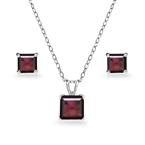 Silver Square Solitaire Necklace Set - Garnet