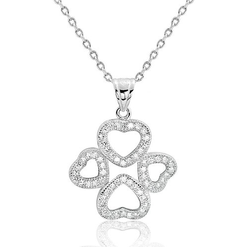 Four Heart Silver Necklace