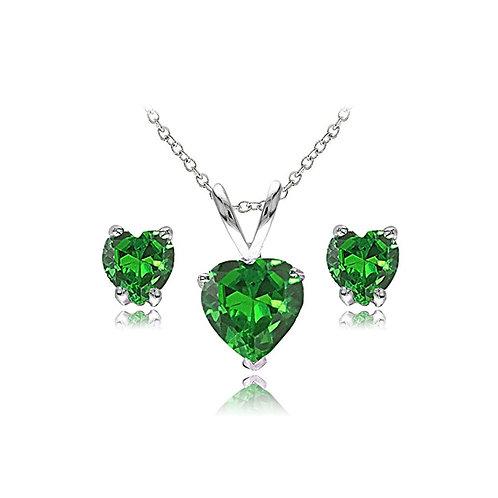 Silver Heart Necklace Set - Emerald