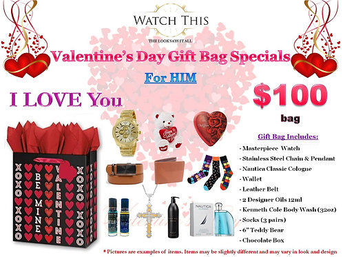"Men's ""I LOVE You"" Valentine's Day Gift Bag"