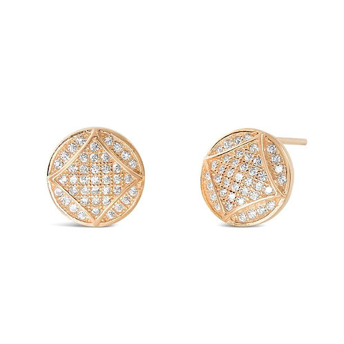 Fabulous Square In Circle Earrings - Rose Gold