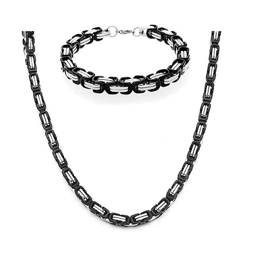 Steel Byzantine Chain Set - Black/Silver