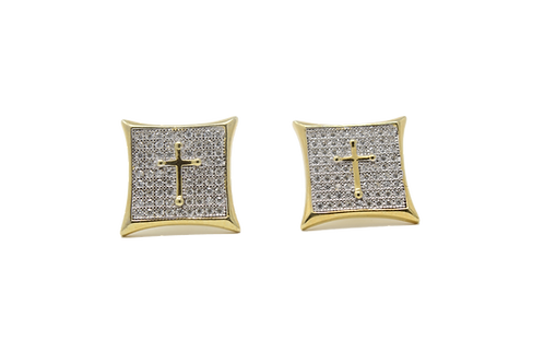 Cross Earrings - Gold