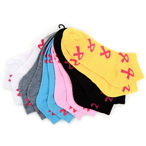 Women's Breast Cancer Awareness Low Cut Socks - 6 Pairs