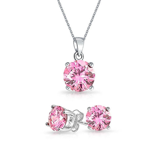 Silver Round Solitaire Necklace Set - Pink Tourmaline