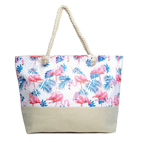 Flamingo Palm Leaf Tote