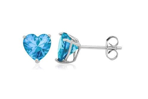 Silver Heart Birthstone Earrings - December (Blue Topaz)