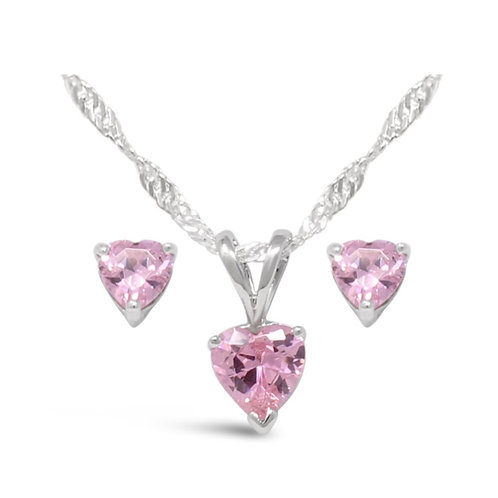 Silver Heart Necklace Set - Pink