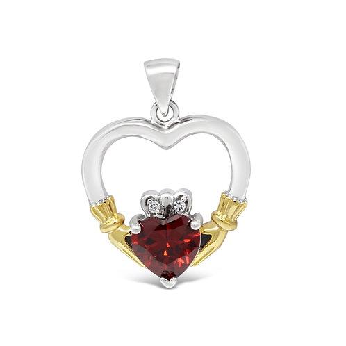 Claddagh Heart Stone - Garnet