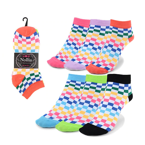 Women's Assorted Checkered Low Cut Socks - 6 Pack