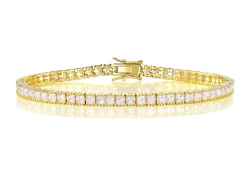 Silver Ice Cube Tennis Bracelet - Gold