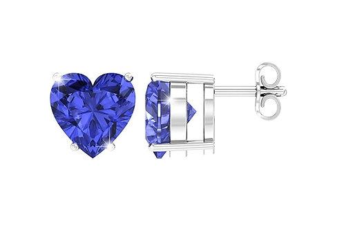 Silver Heart Birthstone Earrings - September (Blue Sapphire)