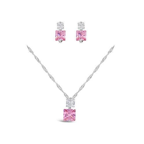 Square CZ Necklace Set - Pink CZ