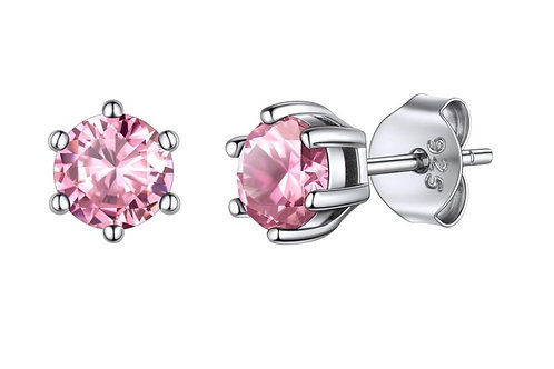 Silver Round Birthstone Earrings - October (Pink CZ)