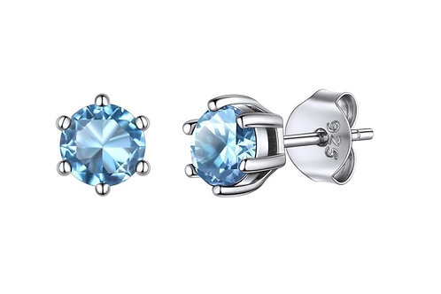 Silver Round Birthstone Earrings - March (Aquamarine)