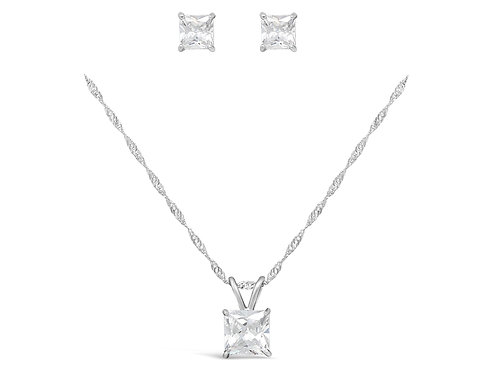 Silver Square Necklace Set - Clear CZ