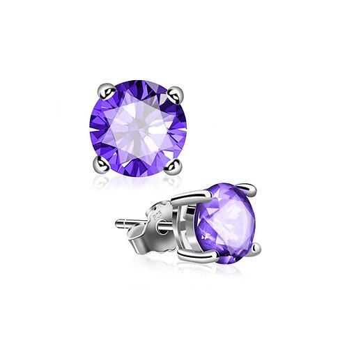 Silver Round Birthstone Earrings - February (Amethyst)
