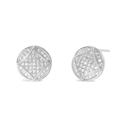 Fabulous Square In Circle Silver Earrings