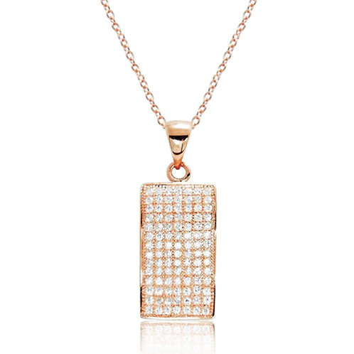 Fancy Rectangle CZ Pave Necklace - Rose Gold