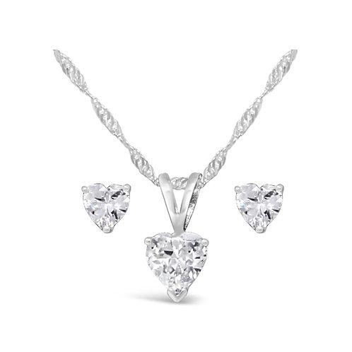 Silver Hear Necklace Set - Clear CZ
