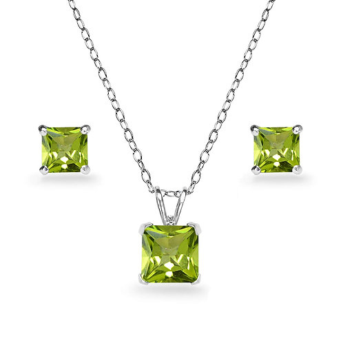 Silver Square Solitaire Necklace Set - Peridot