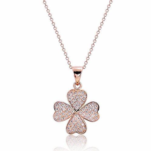 Lucky Clover Leaf Necklace - Rose Gold