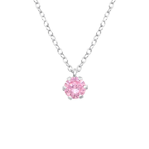 Silver Round Necklace - Pink CZ