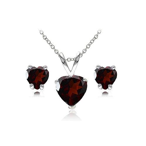 Silver Heart Necklace Set - Garnet
