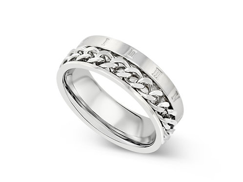 Roman Numeral Chain Ring - Silver