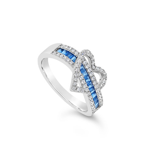 Exotic Heart Ring - Blue Sapphire