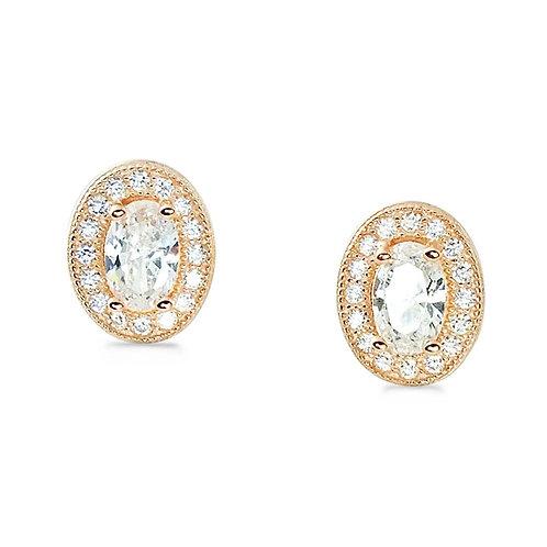 Oval Cut Halo Earrings - Rose Gold