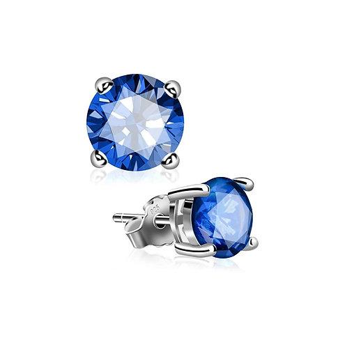 Silver Round Birthstone Earrings - September (Blue Sapphire)