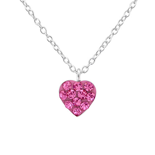 Sparkling Heart Necklace - Rose