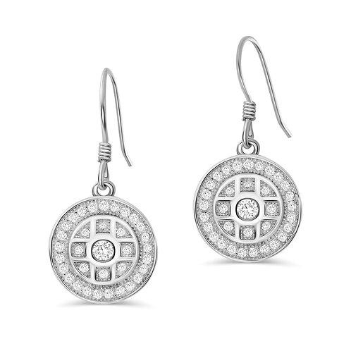 Shield Pattern Drop Earrings - Silver