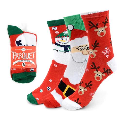 Ladies Christmas Holidays Crew Socks - 3 Pack