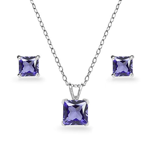 Silver Square Solitaire Necklace Set - Amethyst