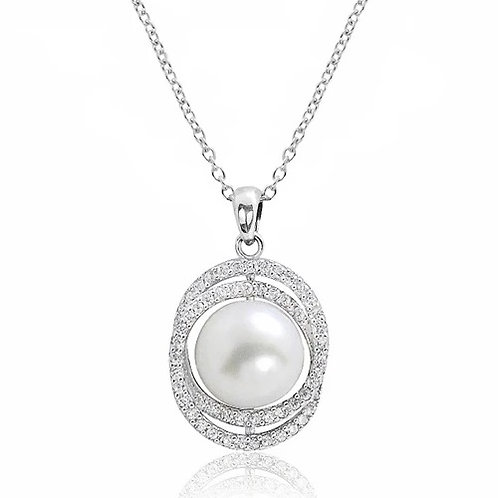 Gorgeous Pearl Necklace -Silver