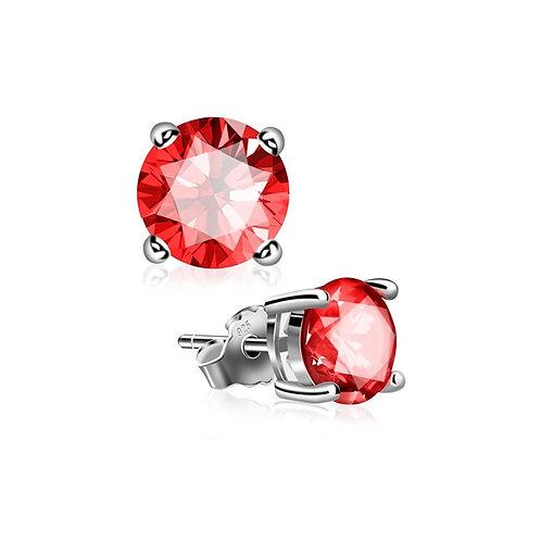 Silver Round Birthstone Earrings - July (Ruby)