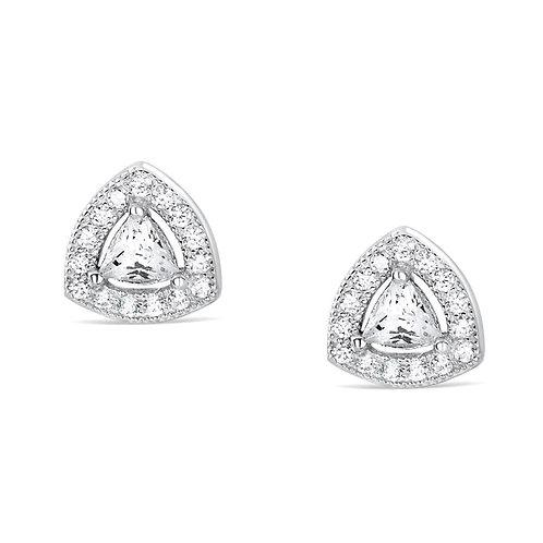 Trillion CZ Silver Earrings