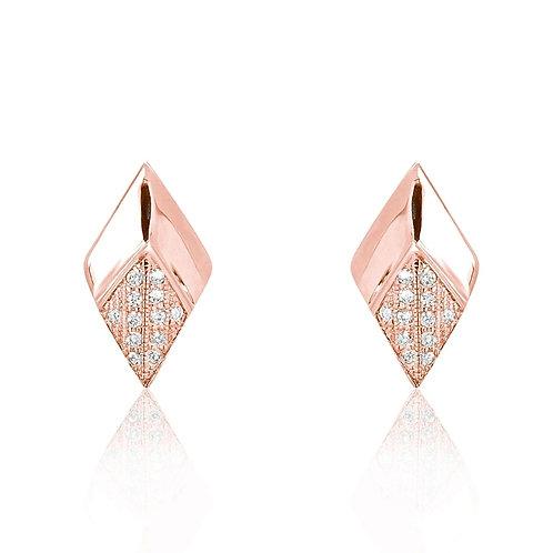 Bevel Rhombus Earrings - Rose Gold