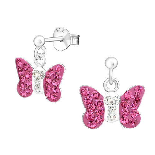 Hang Butterfly Earrings - Pink