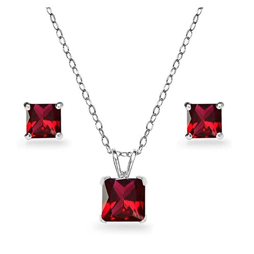Silver Square Solitaire Necklace Set - Ruby