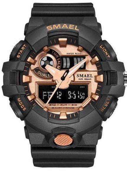 Smael 3ATM Sports Watch - Black, Rose